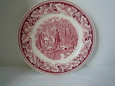"CURRIER & IVES RED & WHITE ""HOME SWEET HOME"" DINNER PLATE- CURRIER & IVES PRINTS"
