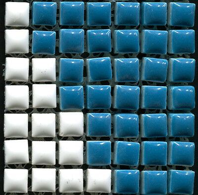 49 Ceramic Mosaic Tiles 1x1 Blue & White - Type 2