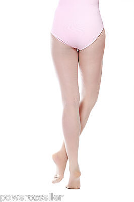 Footed Ballet Dance Tights Pink with plain waist and gusset Size Child to Adult