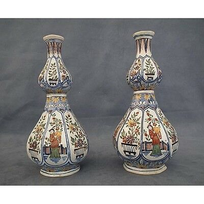 Pair of Antique French Chinoiserie Faience Vases 18th 19th century