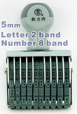 NEW 5mm 0.5cm 10 band Capital 2 letter A - Z 8 number 0 - 9 rubber stamp Ink Pad