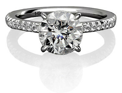 1.05 Ct Round Cut  Certified F/VS2 Diamond Engagement Ring Pave 14k White Gold