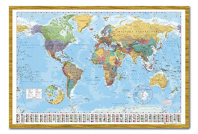 World Map Poster With Country Flags Oak Framed Ready To Hang Frame Free P&P