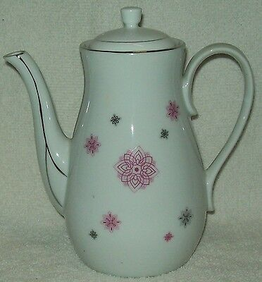 Vintage Shafford Hand Painted Coffee/Tea Pot Pink/Black Designs w/Gold Trim