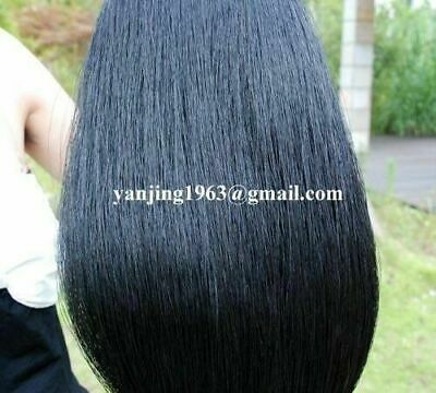 """New Jet Black Horse Show Tail Hair Extension 1/2Lb 34-36"""" AQHA B1H with FREE BAG"""