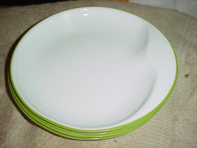 """Corelle Green Hoops Contours 8.25"""" Lunch Plates Brand New Free Usa Shipping"""