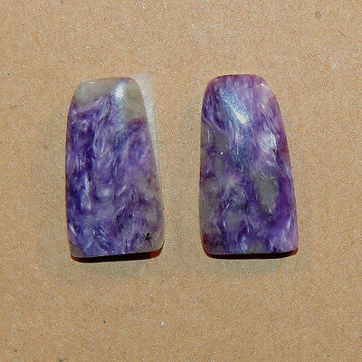 Charoite Pair of Cabochons 18x9mm with 3.5mm dome (1727)
