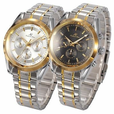 KS Gold Date Day 24 Hours Stainless Steel Men's Automatic Mechanical Watch