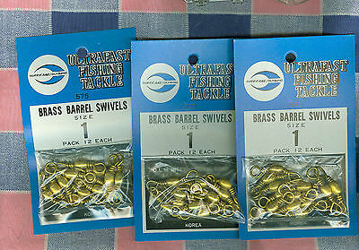 NOS Three Packages Ultrafast Fishing Tackle Brass Barrel Swivels Size 1 12/Pack