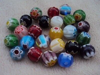40 Millefiori Glass Round Beads 10mm.  Assortment Colours. Size 10 mm.
