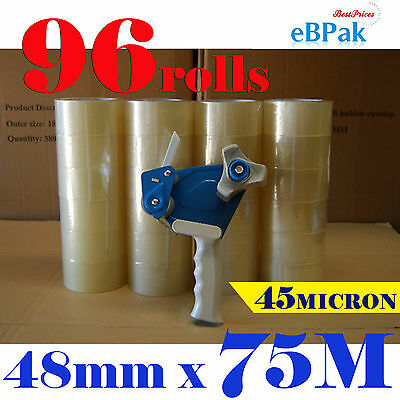 96 x Rolls + Tape Dispenser with Handle Packing Packaging Tape 48mm x 75m Meter
