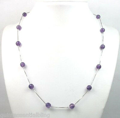 Genuine 8mm Amethyst Sterling Silver Chain Station Necklace