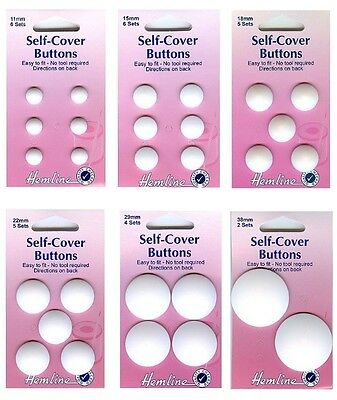 Self Cover Buttons  Hemline No Tool Required  Choice of Size 11mm - 38mm