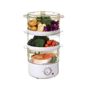 Sabichi Electric White 3 Tier Food Steamer Cooker 400W 7.2L Capacity Manual 9557