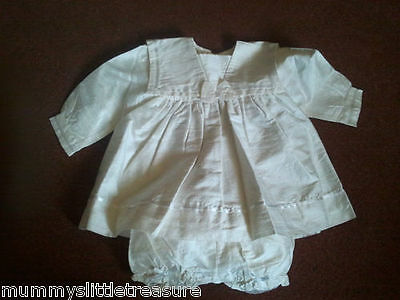 Bnwot Ivory Raw Silk Christening Dress Gown And Bloomers 3-6 Months