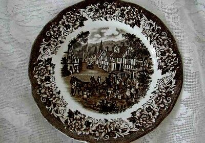 MEAKIN ROYAL STAFFORDSHIRE Brown Stratford Stage Scenic Plate - Made in England