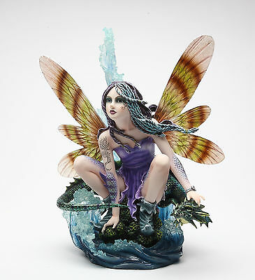 "Large Ocean Fairy With Blue Water Dragon Statue Fairyland Legend 13""H Figurine"