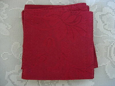 Beautiful Set of 4 Ruby Red Damask Fabric Coasters - NEW
