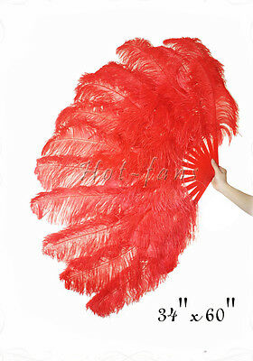 XL 2 layers Red Ostrich Feather Fan Burlesque dancer perform friend 60""
