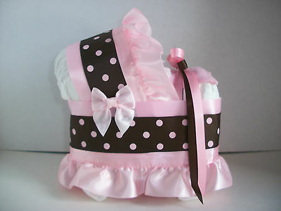 Beautiful Pink Brown Girl Diaper Bassinet Carriage Baby Shower Centerpiece