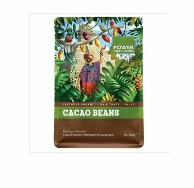 1kg Power Super Foods CACAO BEANS Mayan Superfood Certified Organic ( 2 x 500g )