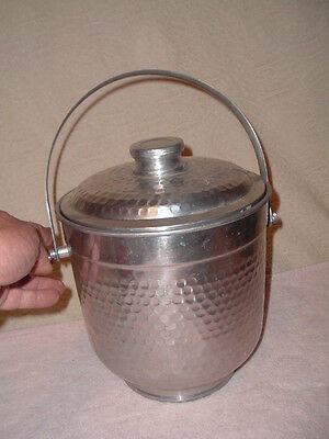 Vintage Hammered Aluminum Ice Bucket w Lid Italy Insulated