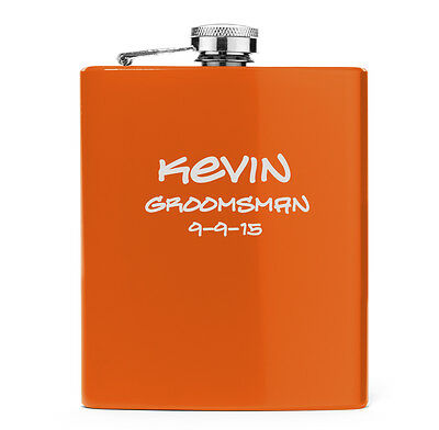 Engraved 7oz Stainless Steel HIP FLASK Orange   PERSONALIZED