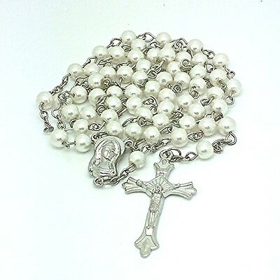 6mm WHITE Pearl ROSARY BEADS NECKLACE Party Favours BOMBONIERE Wedding BAPTISM