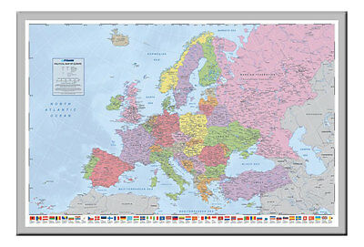 Political Map Of Europe Poster With Flags  Magnetic Notice Board Silver Framed