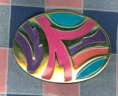 uu. Vintage Belt Buckle Very Colorful 3 3/4 x 2 11/16 Inches