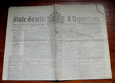 State Gazette & Republican Newspaper Trenton  Nj July 14 1865 Lincoln Assassins