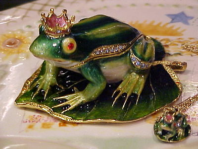Frog Prince Enameled Jewel Box & Necklace  62348