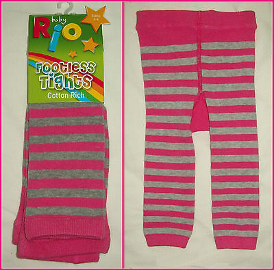 RIO BABY FOOTLESS TIGHTS Grey & Pink Ankle Length NEW  Sz 00 - 1, 1 - 2 or 2 - 4