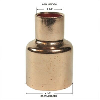 Libra Supply 2'' x 1'', 2 x 1 inch Copper Pressure Coupling Bell Reducer CxC,