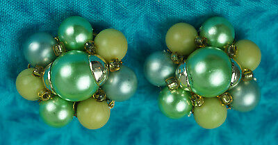 JAPAN Green Blue Yellow Beads Gold Toned Clip Earrings