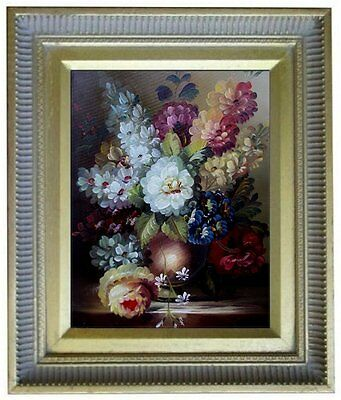 Framed Still Life with Assorted Flowers, Quality Oil Painting 8x10in