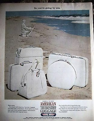 1966 American Tourister Luggage Beach Ocean White Suitcase Ad