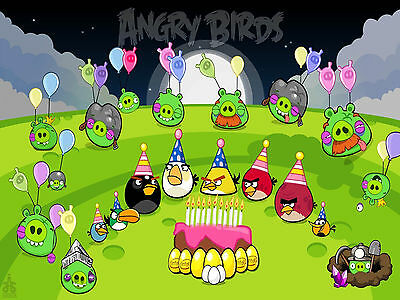 Angry Birds 1 Edible Icing Party Cake Topper Decoration Image Custom