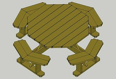 ... Octagon Picnic Table Plans--Easy to do!! W/without umbrella hole