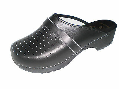 """""""MaRited"""" Genuine Black Leather Wooden Sole Swedish style Clogs womens/mens"""
