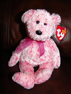 NWT 2002 Ty Beanie Babies 10 Years Smitten the Pink and White Bear Plush Doll
