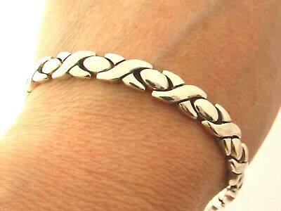 """Taxco Mexican Solid 925 Sterling Silver Bracelet. 25g. 18.5cm, 7.3"""""""