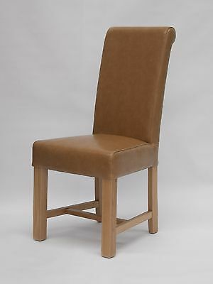 Loire solid oak furniture set of two tan leather dining chairs