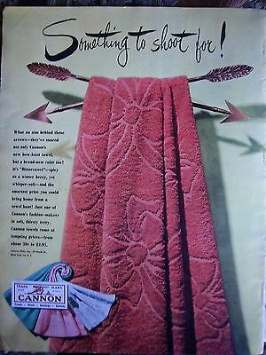 1949 Vintage CANNON BATH TOWELS Something to Shoot For Color Ad