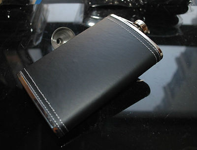 10oz Stainless Steel Hip Flask Leather Wrap Free Funnel#10BKNL