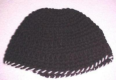 Hand Crochet Black Hat with White Trim New