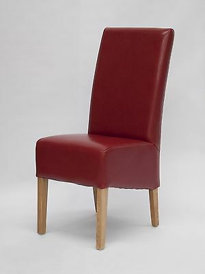Magnum Solid Oak Furniture Set Of Six Red Leather Dining Chairs