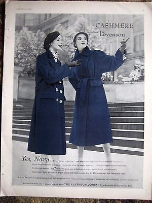 1950 Vintage Womens Cashmere Coat Tailored by Levenson Company Color Fashion Ad