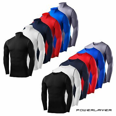 Mens Boys Compression Base Layer Long Sleeve Thermal Shirts - Crew & Mock Styles