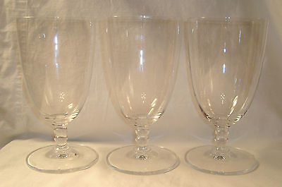 3 Mikasa Crystal Pearls Ice Tea Glass Iced Glasses Ball Stem Pearl